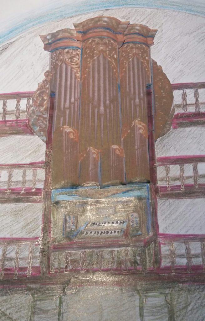 Croquis représentant l'idée du nouvel orgue de Cambo